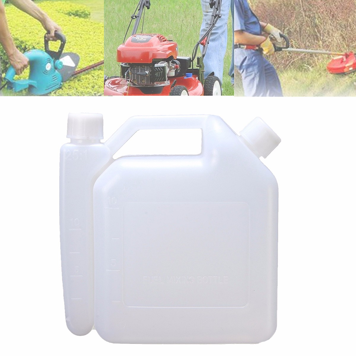 1 Litre Oil Petrol Fuel Mixing Bottle Tank 2 Stroke For Chainsaw Trimmers 1:25 Plastic Fuel Tanks 15.5x7.3x16.3cm White