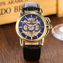 Mechanical Watch Golden Skeleton Hand-winding Mechanical Watches Black Leather Band Waterproof Business Clock Male Gifts стоимость
