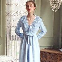 Sleepwear Robe Women Nightwear Bathrobe Kimono Robe Peignoir Femme Light Blue Vintage Ruffle Long Silk Nightgown Robe Gown