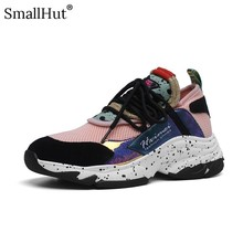 Women Platform Sneaker Spring Genuine Cow Leather Horsehair Mixed Colors Round Toe Black Pink Purple Ladies Flat With Shoes E033