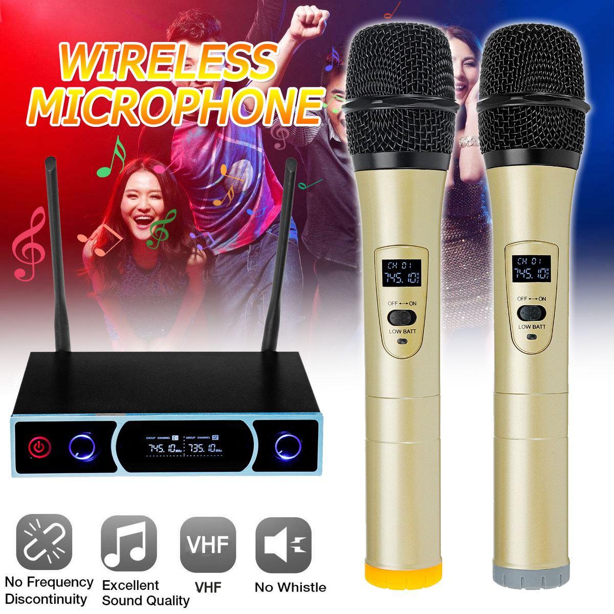Studio Dual VHF Wireless Microphone Wireless Microphone System Family Video 2 x Cordless Microphones + Receiver for Karaoke KTVStudio Dual VHF Wireless Microphone Wireless Microphone System Family Video 2 x Cordless Microphones + Receiver for Karaoke KTV