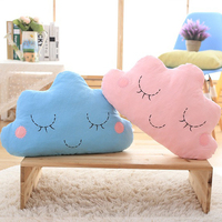 50CM Cute Cartoon Kawaii Cloud Smiley Pink Blue Face Pillow Soft Plush Pillow Throw Pillows Home Room Decor Gift For Girls Prese