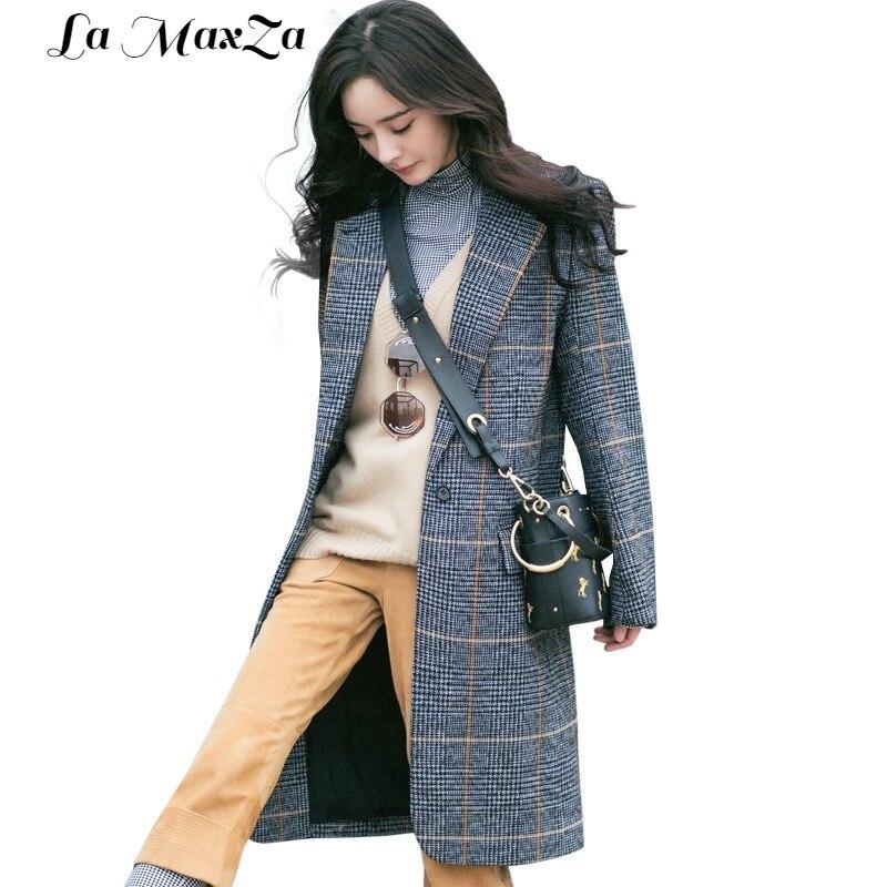 Bleu Col Large bouton D'hiver Vintage Turn Unique Femmes Laine Longue À 2018 Veste Cachemire Carreaux Taille down Manteau qUxwUZT