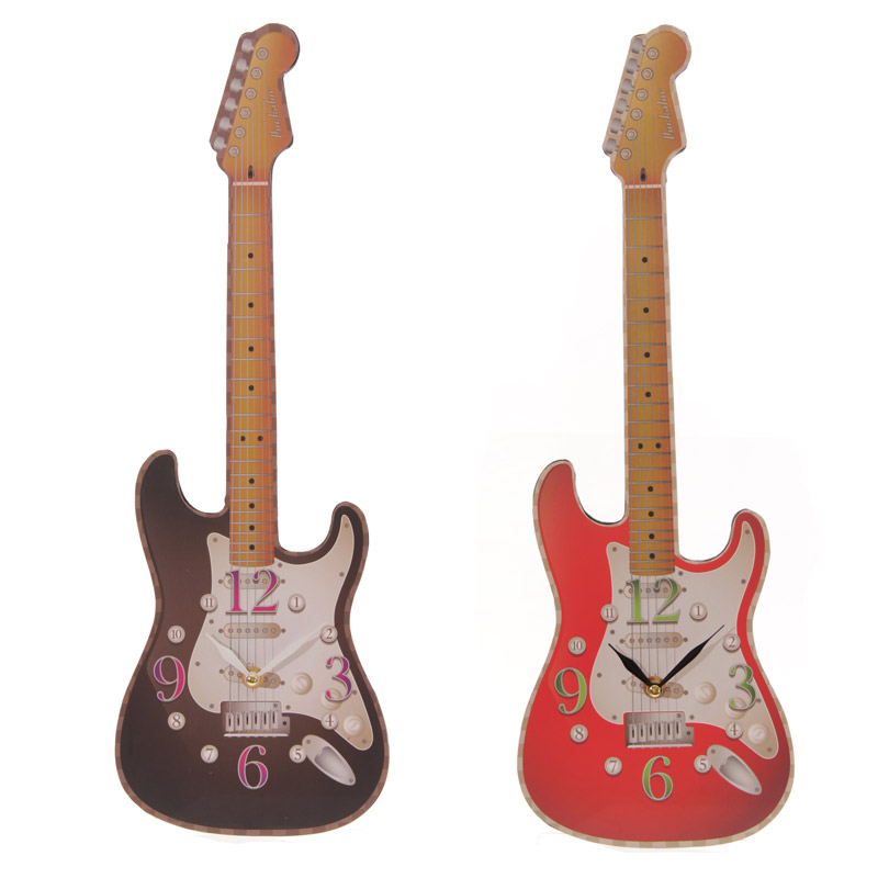 Novelty Guitar Instrument Shaped Wall Clock Electric Guitar Music Room Decor Hanging Art Gift Guitarist Reloj Pared Adhesivo Z74