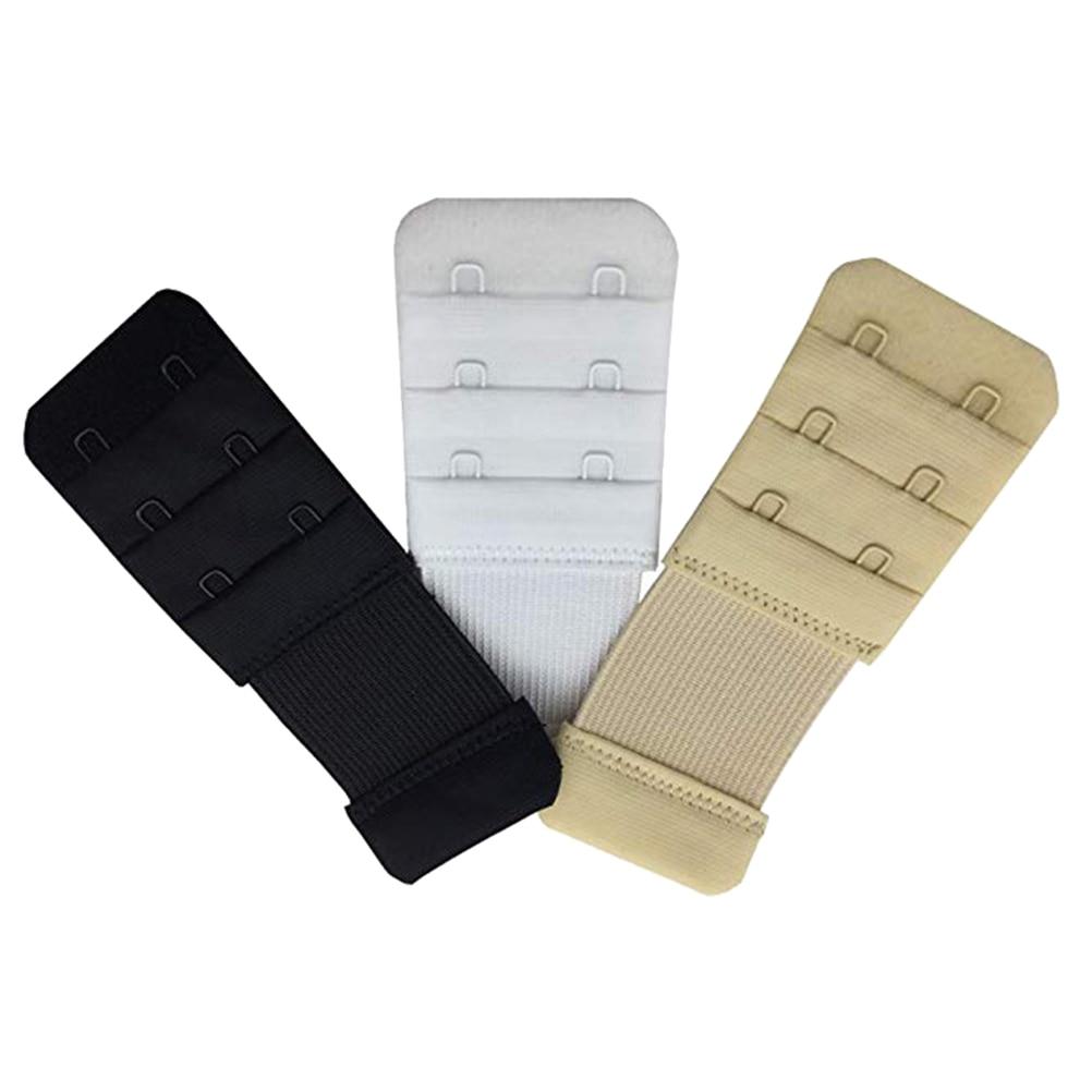 3PCS 3 Rows 2 Hooks Bra Back Extenders Soft Nursing Adjustable Elastic Bra Strap Extender Extension Buckles For Women