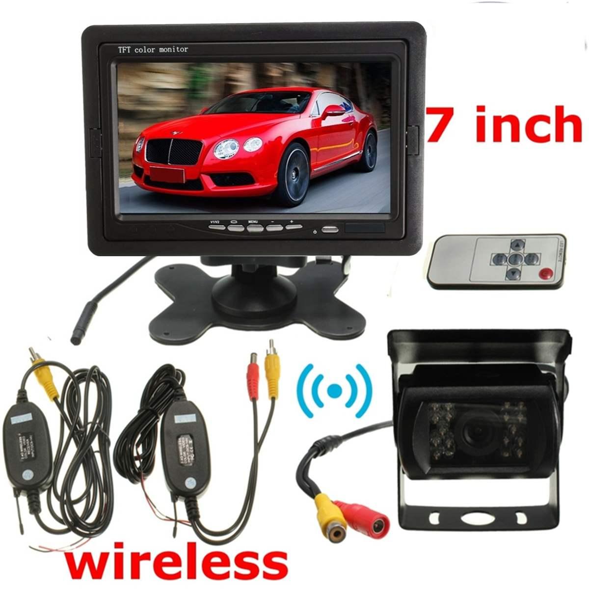 12 V coche vista trasera inalámbrico de la cámara de marcha atrás Kit 7 TFT LCD Monitor de la noche versión Kit