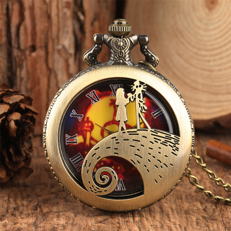 Classic Vintage The Nightmare Before Christmas Theme Pocket Watch Hollow Cover Roman Numerals Fob Necklace Watch For Men Women