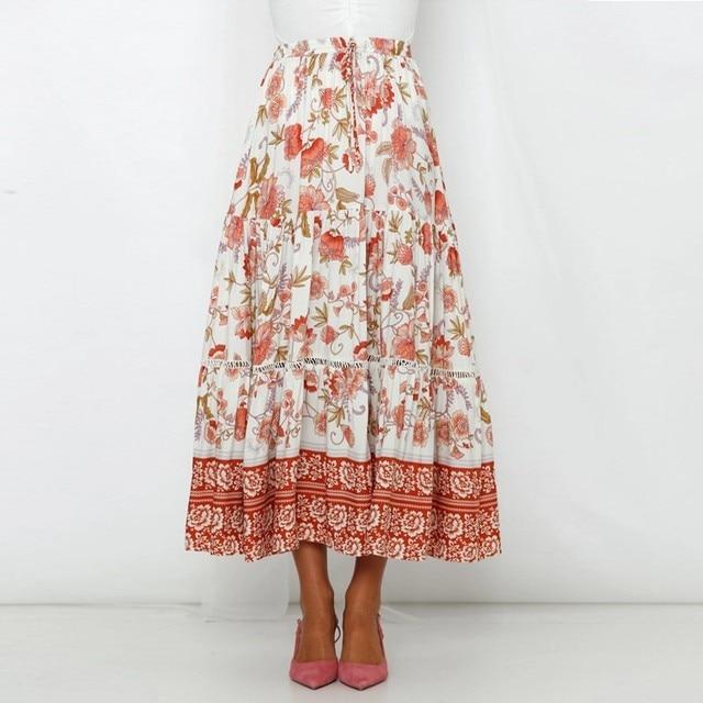 ed53b2548b BEFORW 2019 estampado Floral de Boho Falda larga encaje Mujeres verano  playa Casual faldas Maxi falda femenina