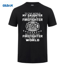 GILDAN cotton printed O-neck T-shirt BestFamily MY DAUGHTER IS FIREFIGHTER T-Shirts