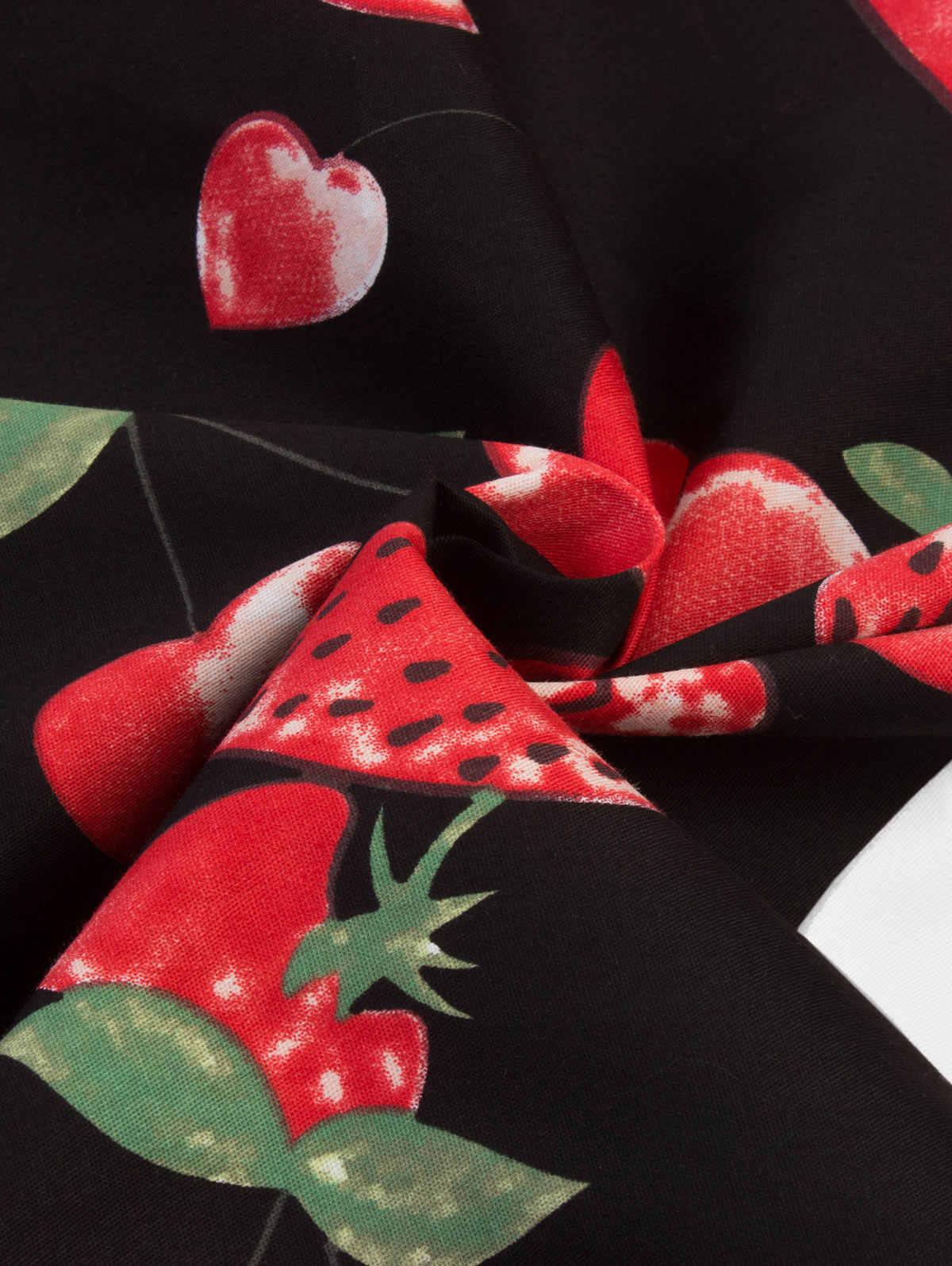 Joineles винтажное платье с фруктовым принтом, женское летнее платье с v-образным вырезом и перекрещивающимся воротником, а-силуэт, праздничные платья Хепберн 50 s 60 s рокабилли