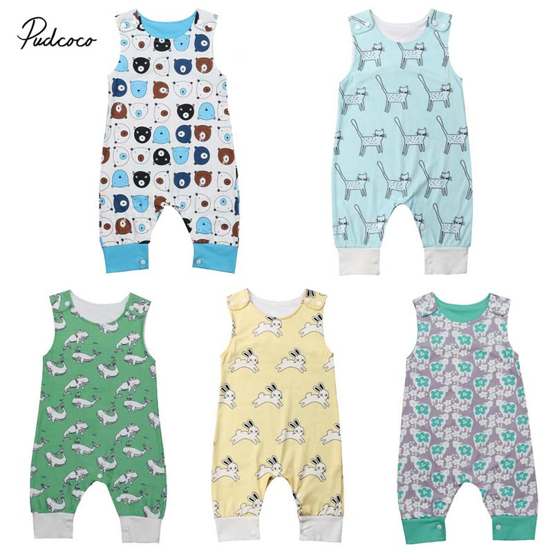 2019 Brand Newborn Kid Baby Girl Boy Sleeveless   Romper   Summer New Cute Bear Bunny Jumpsuit Outfit Trousers Cotton Sunsuit 0-3Y