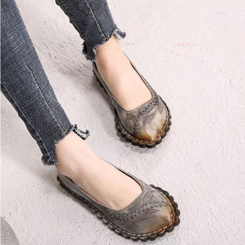 Women Leather Loafers Pointed Toe Low Heel Boat Shoe Spring 2019 Handmade Genuine Leather Women Flats