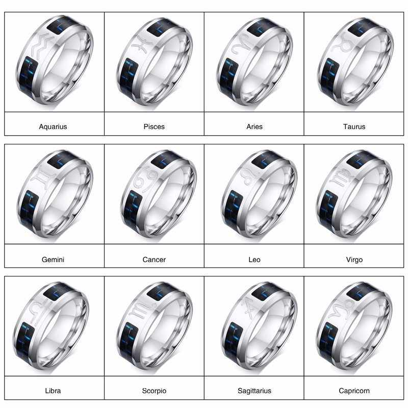 חקוק עקרב טבעות לגברים 8mm נירוסטה עשר קבוצות כוכבים מזלות אנל ברית זכר מזדמן סיבי פחמן טבעת