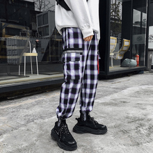 sweatpants 2019 Spring New Fashion Pattern Port Japan Style Plaid Blue Pants Men Lovers streetwear Leisure hip hop Free shipping