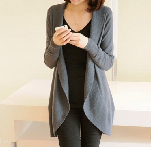 Women Long Sleeve Knitted Sweater Casual Solid Scarf Collar Cardigans Sweaters 1