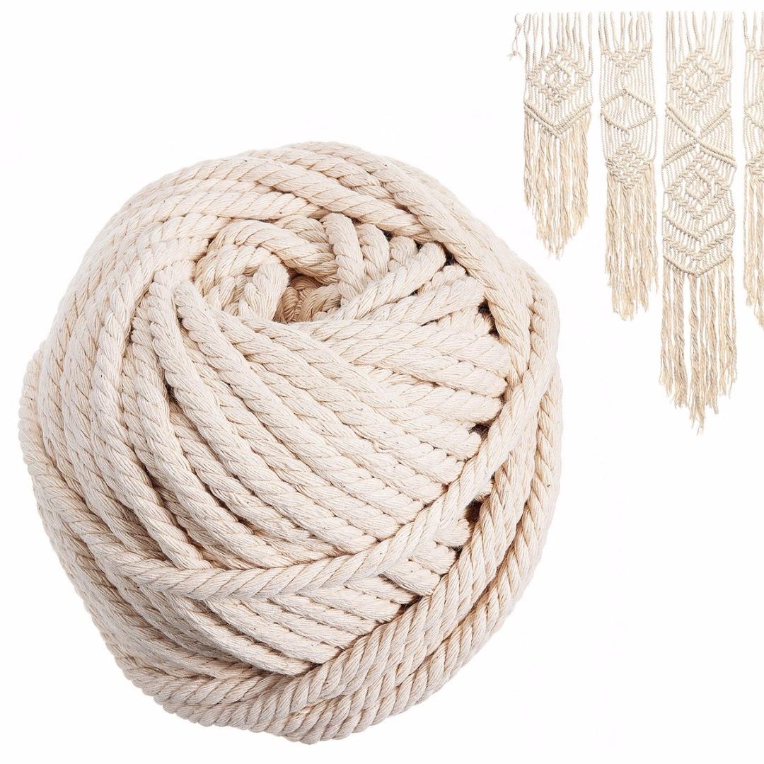 1 Pc Macrame Touw Natuurlijke Beige Katoen Twisted Cord Diy Artisan Hand Craft Draad 6mm * 30 M Voor Home Decoratie Handgemaakte Boho