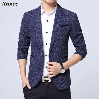 2018 New Spring Autumn thin Casual Men Blazer Cotton Slim England Suit Blaser Masculino Male Jacket Size S-5XL Xnxee