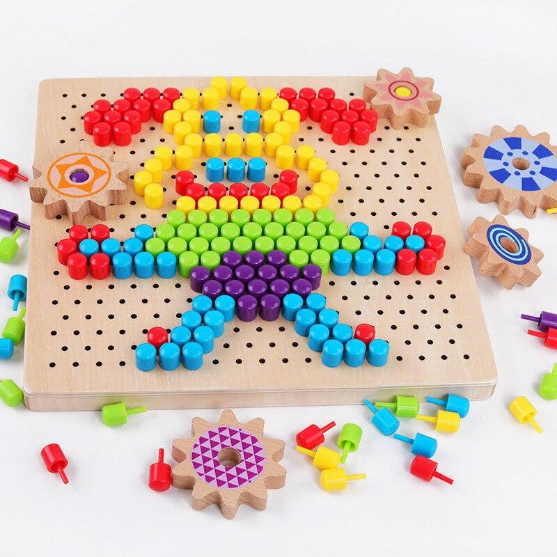 Puzzle en bois blocs jouet Variété champignon ongle pixel peinture En Bois champignon ongle assemblage conseil Bébé intelligence croissance jouet