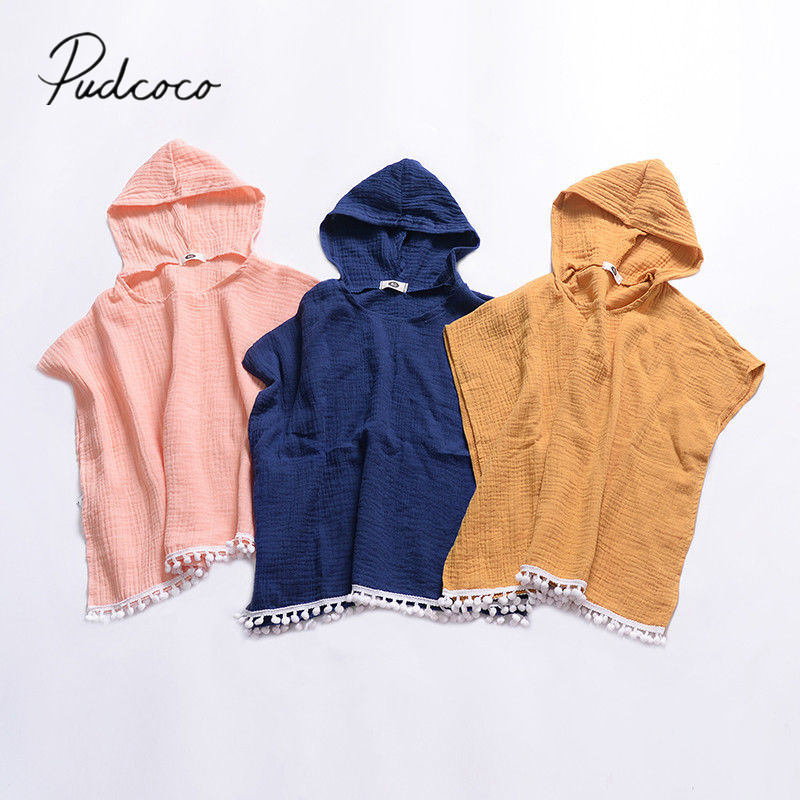 2019 Brand New Toddler Child Kids Baby Girl Long Cape Dress Hooded Tassel Solid Cotton Cloak Poncho Jumper Cape Clothes 6M-4T