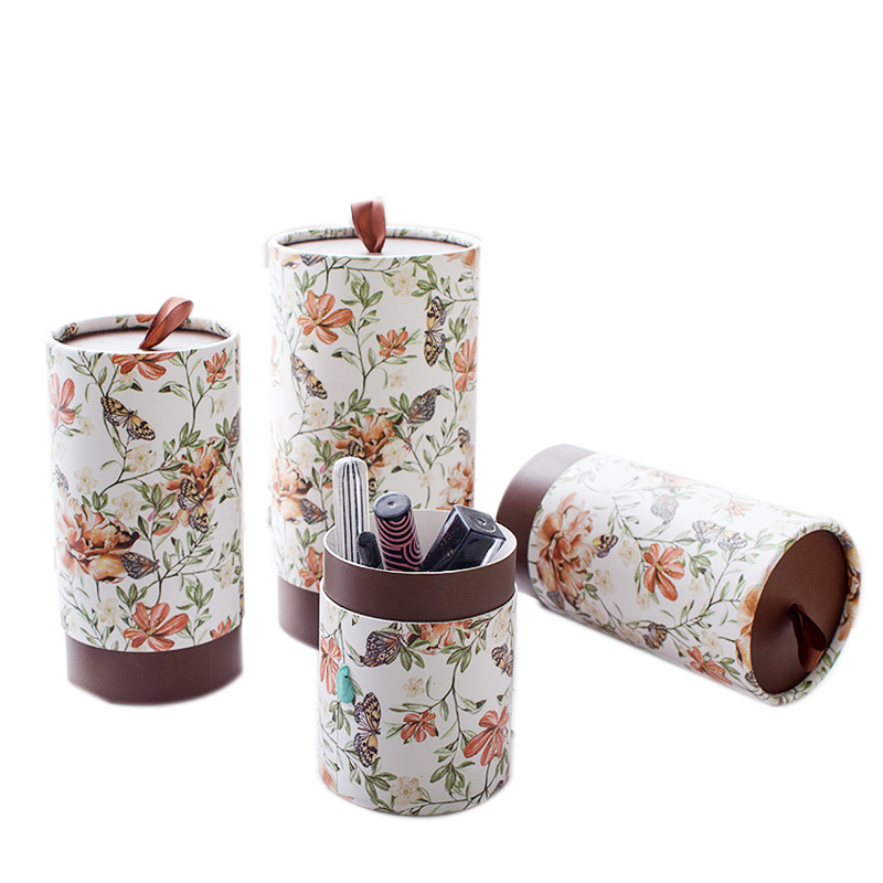 Xin Jia Yi Packaging Paper Tube Lia Balm White Paperboard Round Shape Paper Boxes Wedding Gift Flower Paper Boxes With Handle
