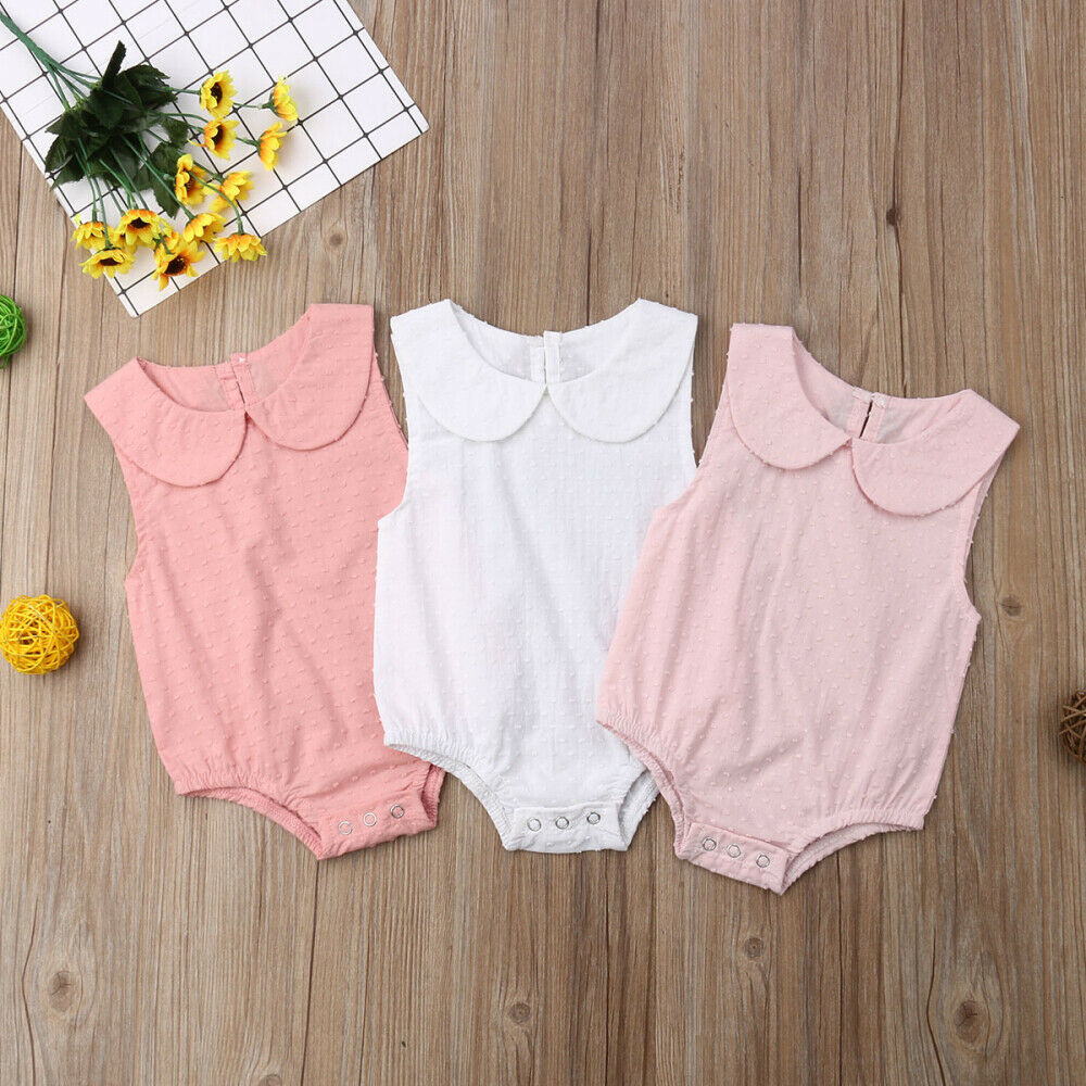 Newborn Baby Girl Clothes Summer Solid sleeveless Peter Pan Collar   Romper   Jumpsuit Outfits Clothes
