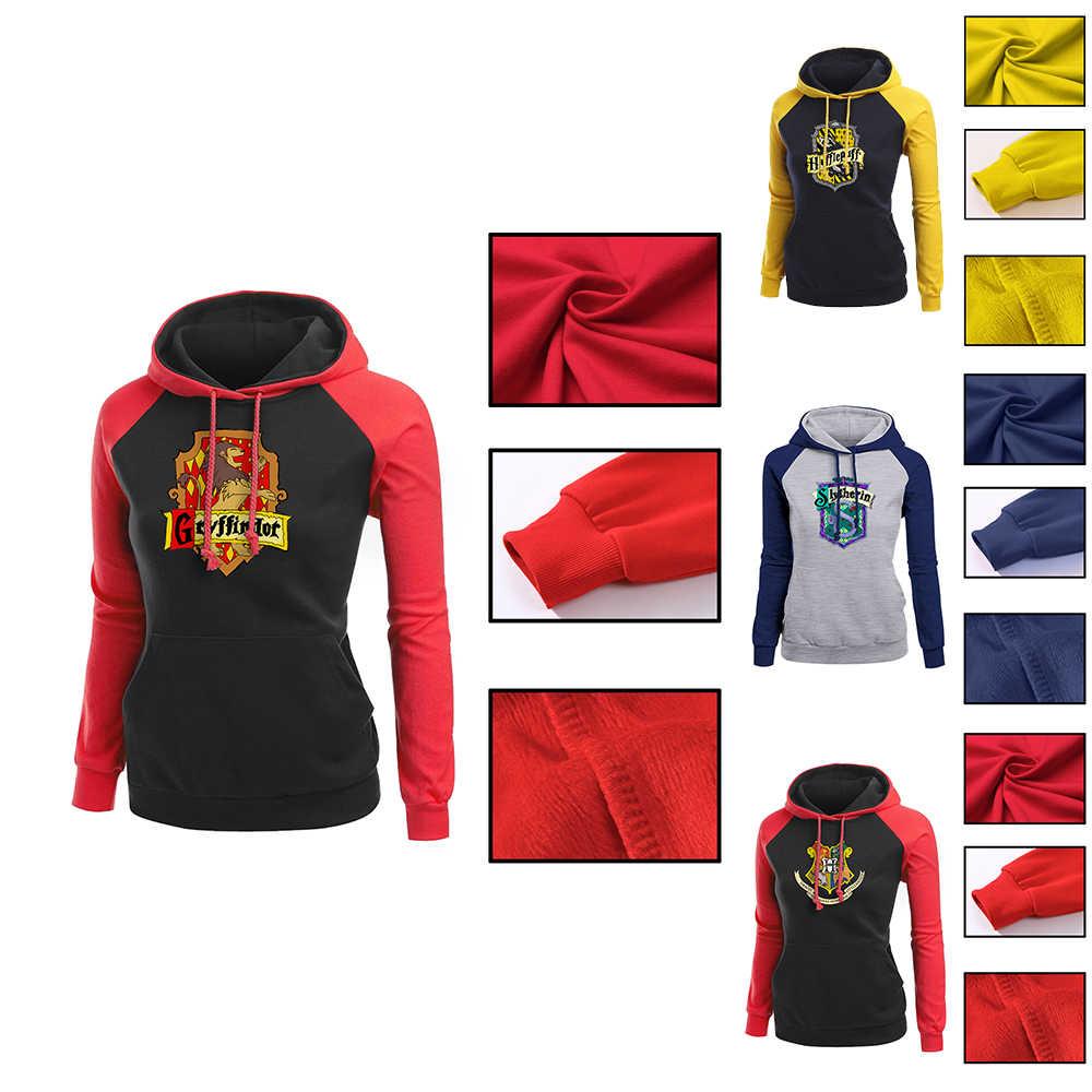 be73b723 OHCOMICS Харри Поттер Хогвартс Гриффиндор/Слизерин женские толстовки с  капюшоном пуловер блузка с длинными рукавами