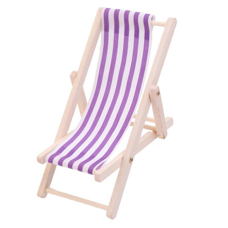 1:12 Scale Mini Beach Lounge Chair Miniature Chairs Stripe Beach Chair DIY Home Decor Kid Toys