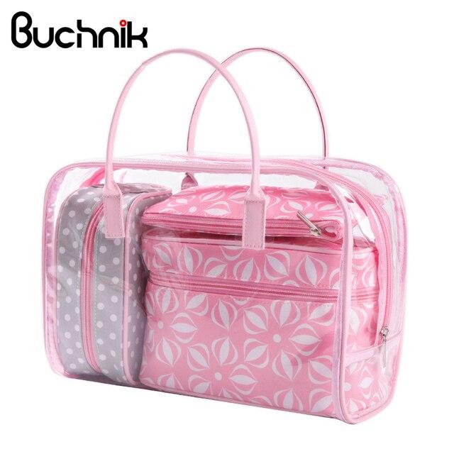 3d5efecc9 4 pcs PVC Bolsa de Maquiagem Rosa Flores Transparente Organizador Bolsa  Sacos de Lavagem de Cosméticos