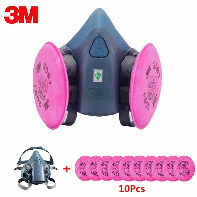 11in1 3M 7502 Meia Máscara Facial Com 2091 Trabalho Máscara Respirador Anti-Poeira do Respirador Pintura de Pulverização Da Indústria Fliters