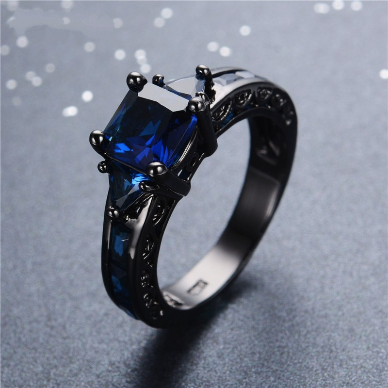 14K Multi-tone Sapphire Diamond Ring Anillos De Bizuteria Bague Etoile Obsidian Diamante Diamond Jade Ring Rock For Men Women