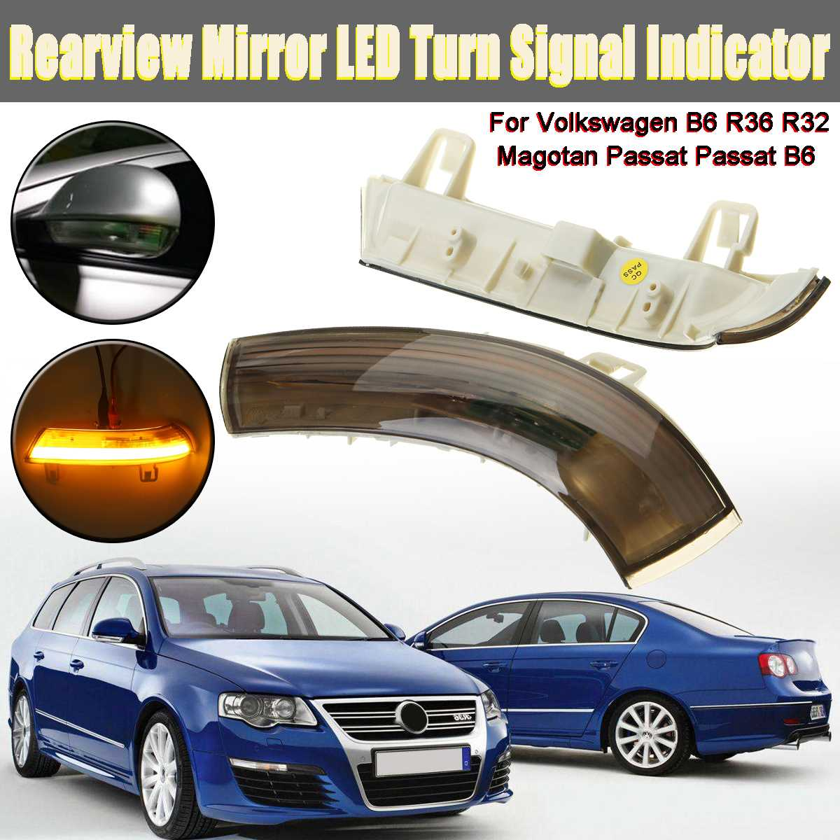 13.5 V LED voiture rétroviseur lampe indicateur clignotant porte Logo lumières pour Volkswagen B6 R32 Magotan Passat Passat