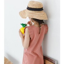 New 2019 Summer Girls Dress Korean Kids Pleated Fly Sleeve Irregular Baby Sundress Ruched Toddler Clothes Cute,#3958
