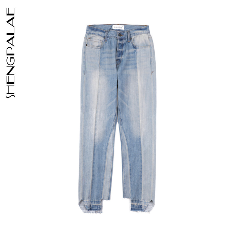 Azul 2019 Primavera De Cintura Blue Sc57105s Mediados Luz Mujer Baby Moda Pantalones Botón Nueva Longitud Denim Hemden Shengpalae Completa gXdx4qq