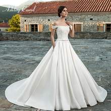 Ashley Carol Satin A-Line Wedding Dress 2019 Court Train
