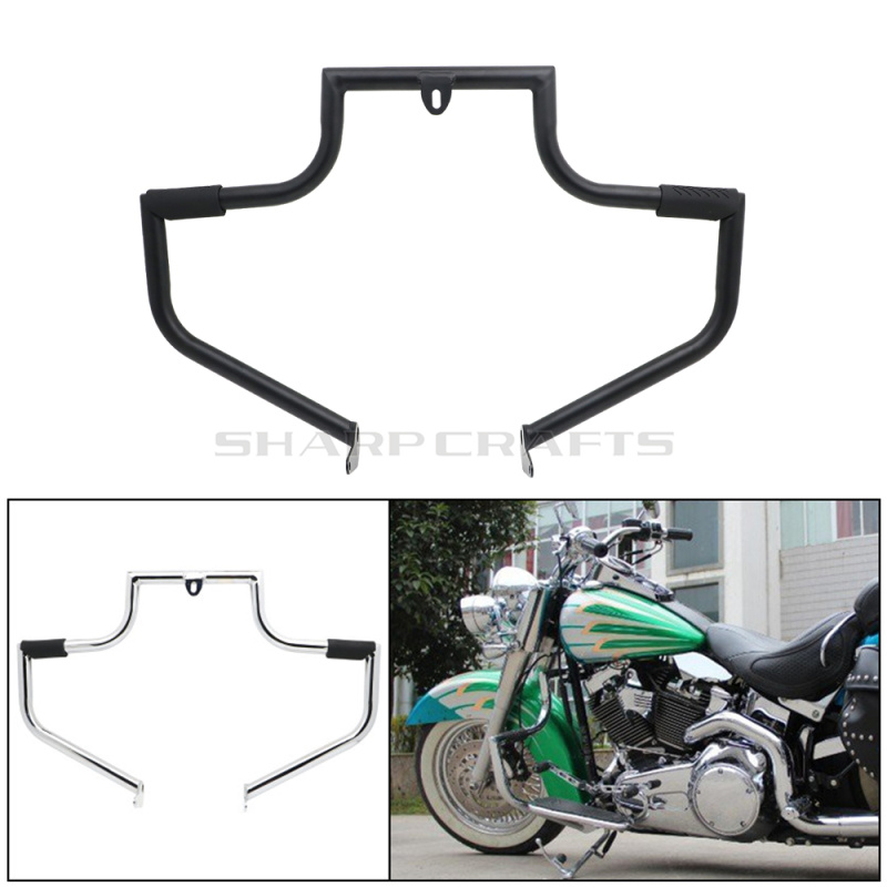 WSays Gloss Black Mustache Engine Guard Highway Crash Bar Protector Frame for Harley Heritage Softail Springer Classic Fat boy 2000-2017