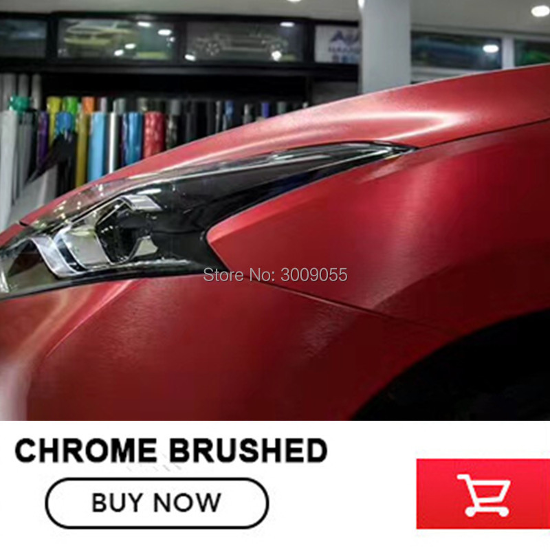 red Matte Chrome Brushed red Vinyl Wrap Film Bubble Free For Car Wrapping chrome Brushed Car Sticker-in Car Stickers from Automobiles & Motorcycles    2