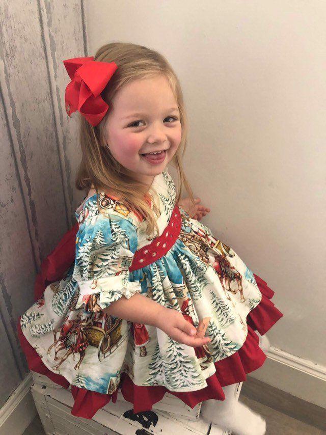 Christmas Toddler Kids Baby Girl Xmas Flared Party Santa Swing Dress Clothes