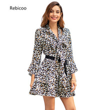 2019 Spring Woman Leopard Dress Casual Vestidos A-line Women Long Flare Sleeve Mini Printed Party Dresses Red Green