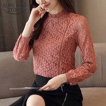 Весенняя мода женщин блузки рубашки с длинным рукавом кружевной рубашку цветочные выдалбливают стенд воротник причинной женственная блузка 1363 45
