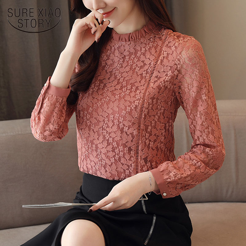 2019 Spring Fashion women   blouses     shirts   long sleeve lace   shirt   floral hollow out stand collar causal feminine   blouse   1363 45