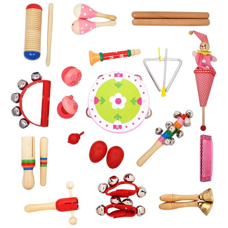 22 pièces bébé musique apprentissage éducatif jouet ensemble créatif infantile jouer Type bois plastique jouet éducatif Instrument de musique