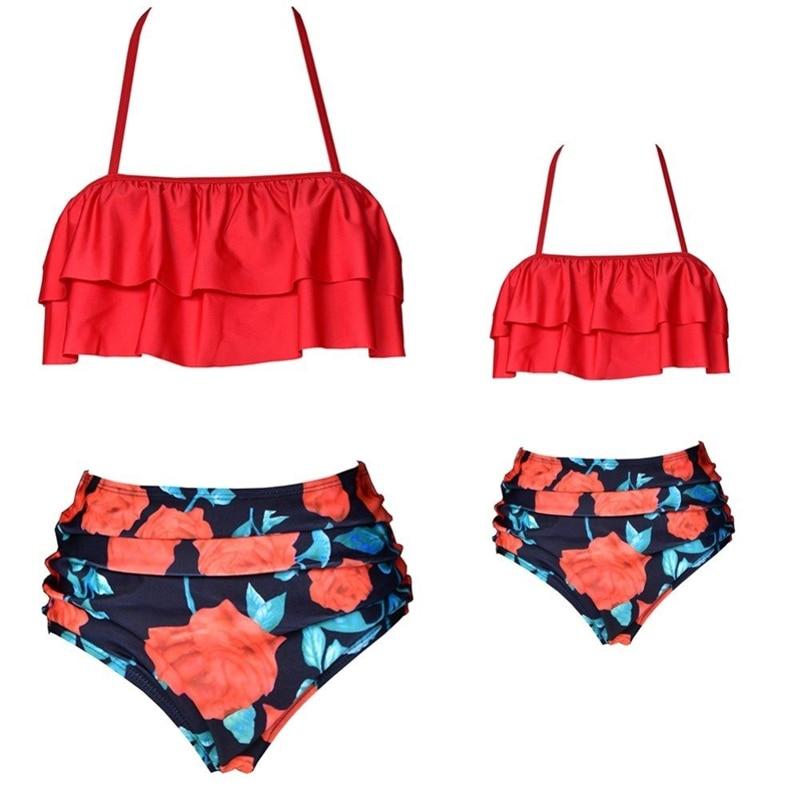 Family Matching Women Kids Girls Swimsuit Mother Daughter Bikini Swimwear Outfit