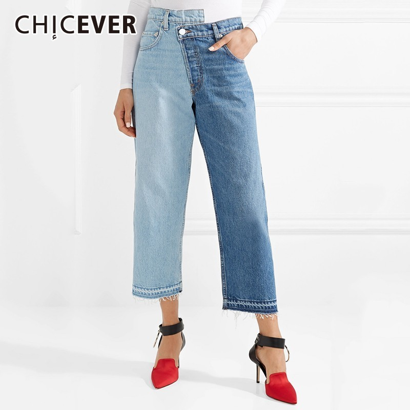 CHICEVER Patchwork Hit Color Women   Jean   High Waist Line Button Zipper Fly Pockets Loose Slim Female Ankle-length Wide Leg Pants