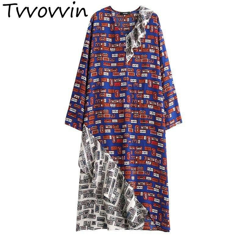 TVVOVVIN 2019 New Spring Summer V collar Long Sleeve Pattern Printed Irregular Ruffles Stitch Loose Dress