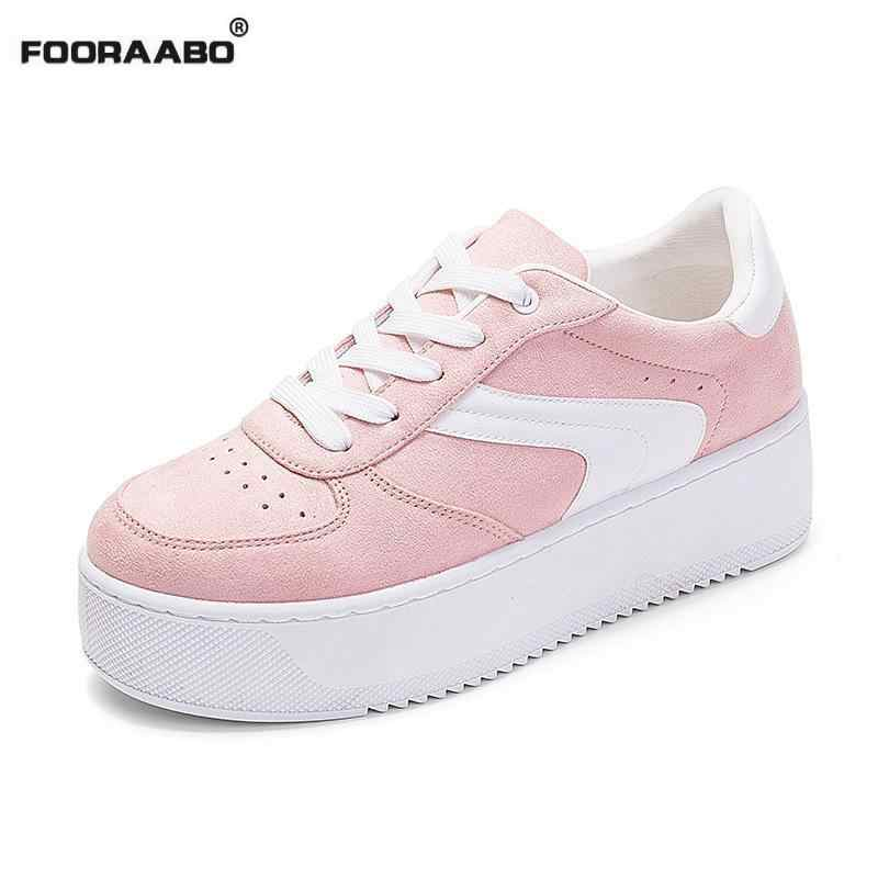75996f93882 ... 2018 Spring Suede Leather Women Shoes Korean Lace-up Thick Soled  Creepers Pink White Platform ...