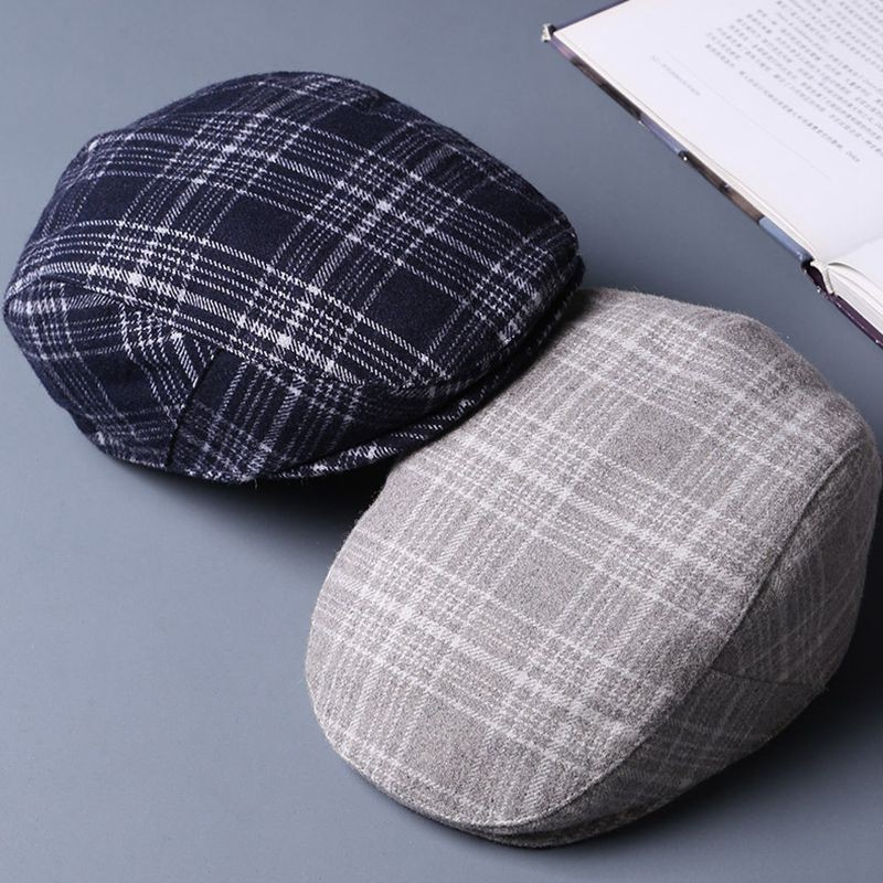 Beret-Caps 62cm Newsboy-Hat Plaid England Classical Wool Man 58cm Top-Grade Felt Big-Head