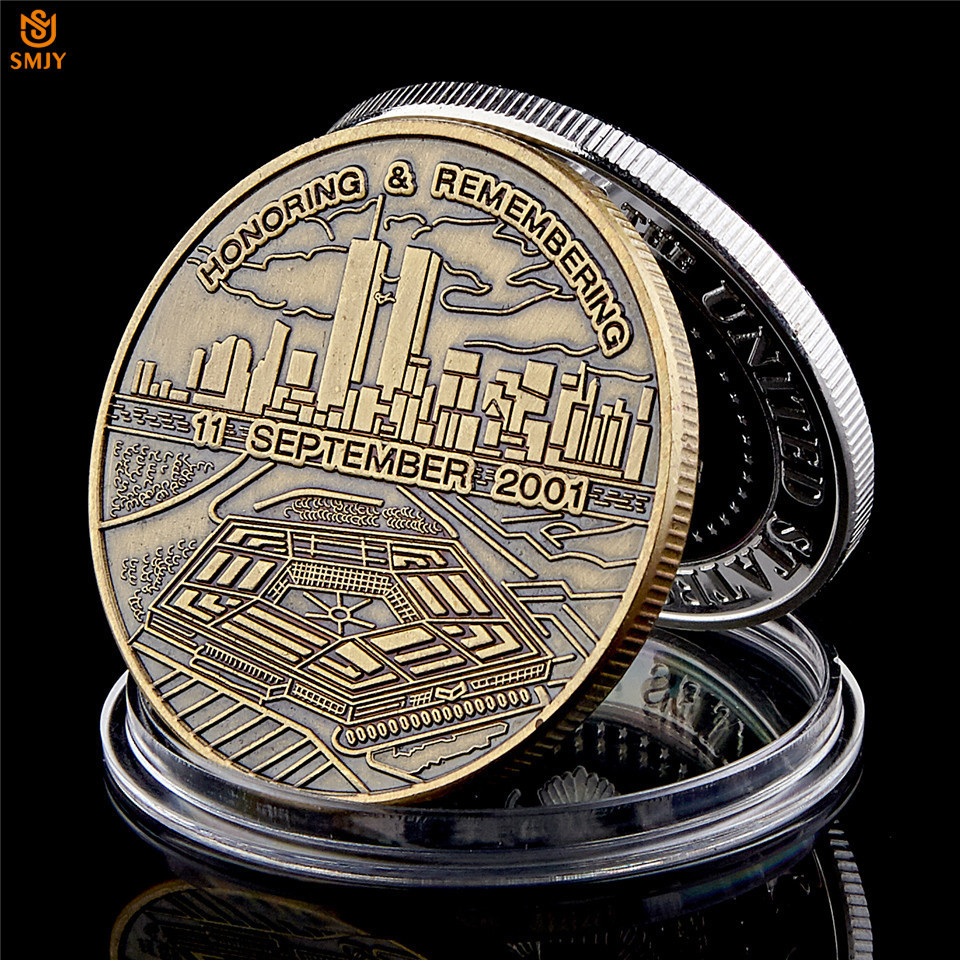 Честь запоминания США 9/11 атака бронзовая невалютная памятная монета Сувенирный жетон символизирует свободу справедливости