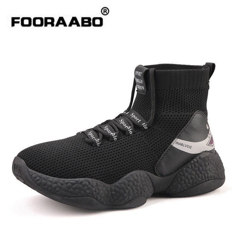 Fooraabo requin Sneakers hommes tricot chaussures de Sport supérieures respirantes chaussures Chunky haut chaussures de course pour hommes 2018 chaussures pour homme