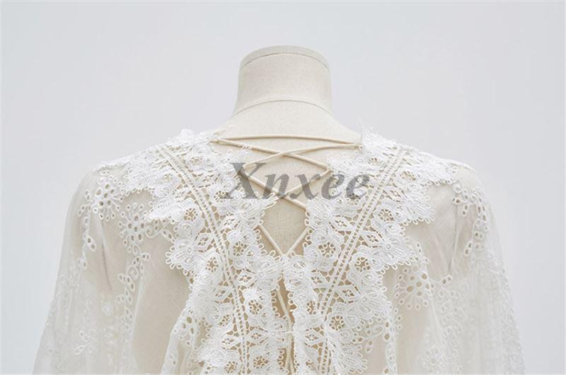 2019 printemps manches longues blanc broderie dentelle Mini robe dos nu mignon Mini dentelle courte femmes robe