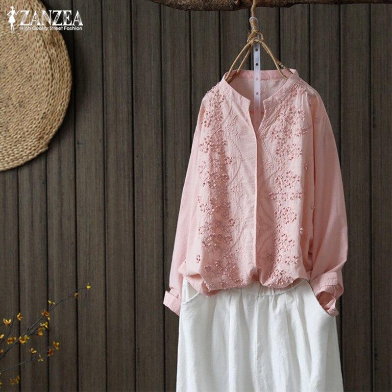 d7347a77c95c Blusa bordada para mujer ZANZEA 2019 moda camisetas de manga larga de gran  tamaño cuello en V Casual Blusas femeninas túnica Tops Tee